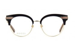GUCCI FRAME FOR WOMEN CAT EYE BLACK AND GOLD - GG0285O 001