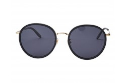 GUCCI SUNGLASS FOR MEN ROUND BLACK AND GOLD - GG0677SK 001