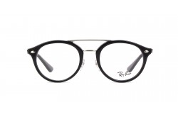 RAYBAN FRAME FOR UNISEX ROUND BLACK AND SILVER - RB5354 2000