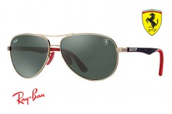 RAYBAN  SUNGLASS FOR MEN RAY BAN SCUDERIA FERRARI AVIATOR BLACK AND GOLD - RB8313M   F00871