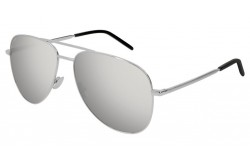 SAINT LAURENT SUNGLASS FOR UNISEX AVIATOR SILVER AND BLACK - CLASSIC 11  FOLK 003